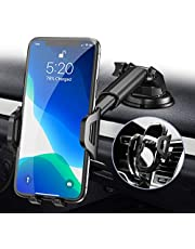 RAXFLY Cell Phone Holder Car Dashboard Windshield Air Vent,3in1 Car Phone Mount 360°Rotation Ultra-Strong Suction Pad Universal Car Phone Holders Mount Compatible with iPhone 12 11 8 7 Samsung