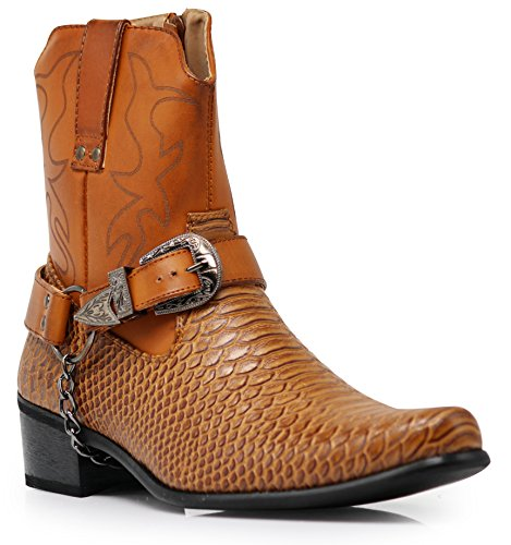 (Alberto Fellini Men's Crocodile Prints Western Boots with Side Zipper, Belt Buckle and Metal Chain (Brown, 12))