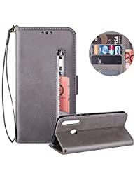 Moiky Soft PU Leather Wallet Case for Samsung Galaxy A40,Gray Folio Flip Stand Case for Samsung Galaxy A40,Multifunctional Zipper Magnetic Purse Cover Handbag Case with Card Holder and Wrist Strap