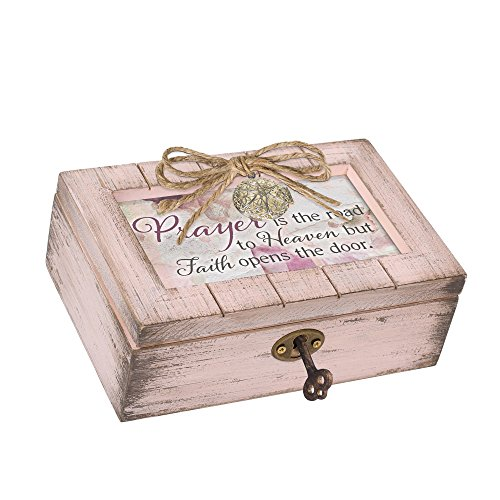 Cottage Garden Prayer to Heaven Blush Pink Distressed Locket Petite Music Box Plays Amazing Grace