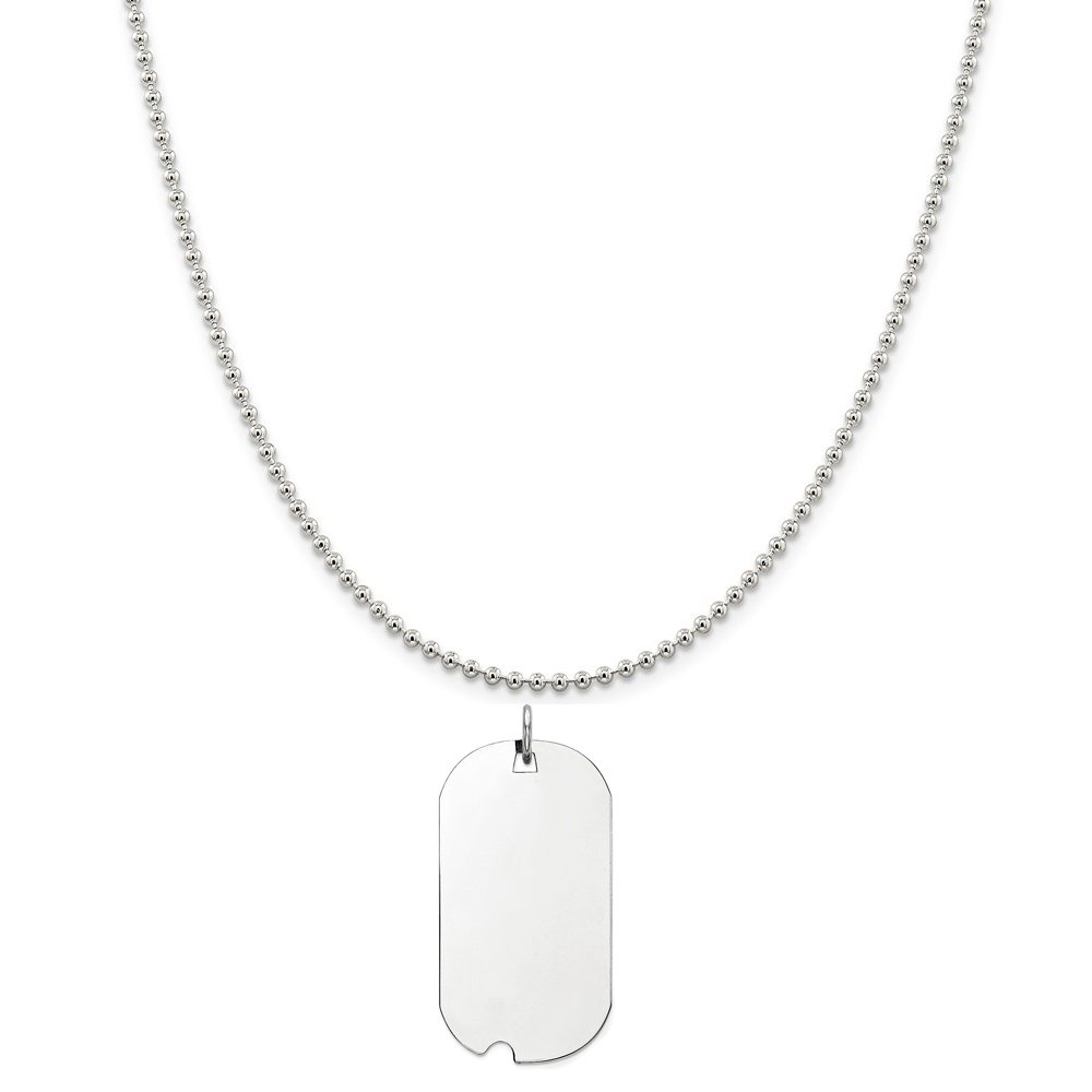 Sterling Silver Plated Finish-Plate Engravable Dog Tag Polished Disc Charm on a Sterling Silver Cable Snake or Ball Chain Necklace