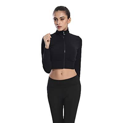 Urhapc Women's Workout Crop Top Fitted Pullover Zip Up Long Sleeve Sweetshirt Black at Women's Clothing store