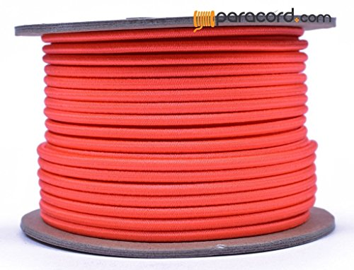 Orange 1/8'' Shock Cord - BORED PARACORD Marine Grade Shock / Bungee / Stretch Cord 1/8 inch x 100 feet Several Colors - Made in USA by BoredParacord