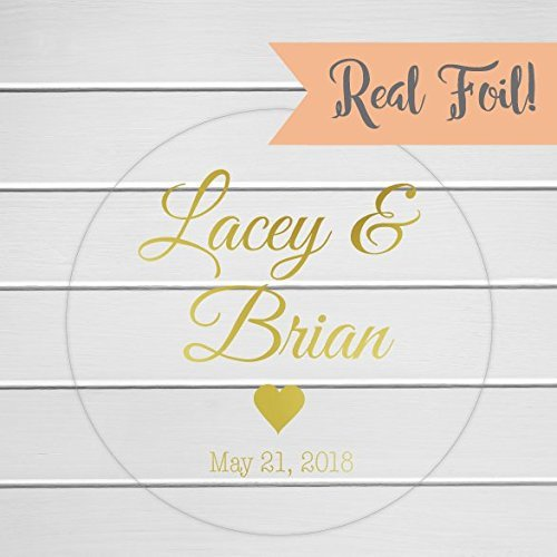 Personalized Wedding Favor Stickers, Color Foil on Clear/Transparent Engagement Party Stickers (Fiesta Scarlet Sugar)