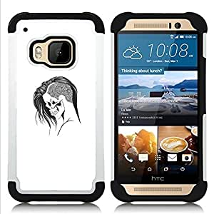 """HTC One M9 /M9s / One Hima - 3 en 1 impreso colorido de Altas Prestaciones PC Funda chaqueta Negro cubierta gel silicona suave (Emo Goth Cráneo"""")"""
