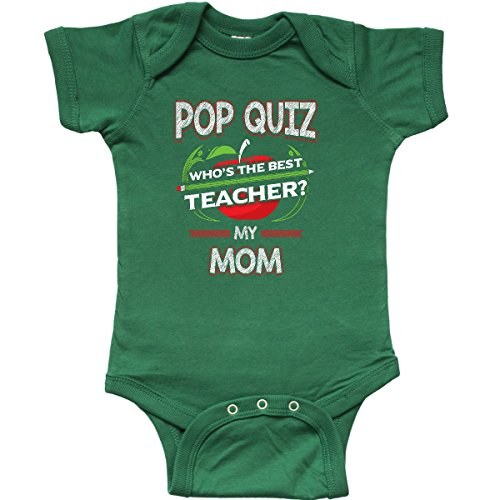 inktastic - Pop Quiz Mom Best Teacher Infant Creeper Newborn Kelly Green 2e0b8