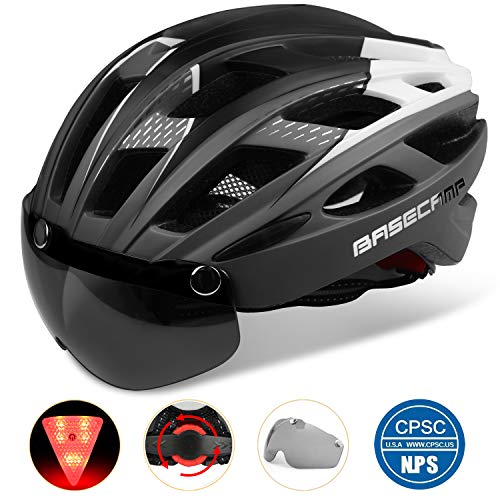 Basecamp Bike Helmet, Light Weight Bicycle Helmet CPSC Certified Specialized Cycling Helmet with Removable Visor& Safety Light& Adjustable Liner for Men&Women (Titanium)