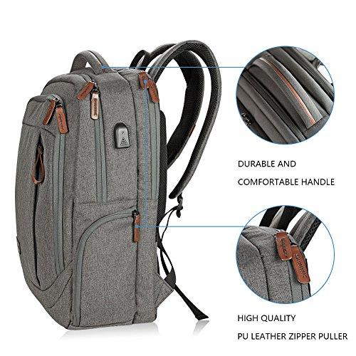 KROSER Laptop Backpack 17.3 Inch Computer Backpack School Backpack Casual Daypack Water-Repellent Laptop Bag with USB Charging Port for Travel/Business/College/Women/Men-Grey by KROSER (Image #3)