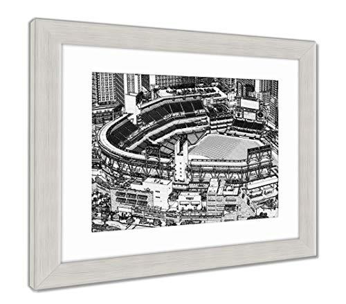 (Ashley Framed Prints Petco Park Line Drawing, Wall Art Home Decoration, Black/White, 30x35 (Frame Size), Silver Frame, AG5597380)