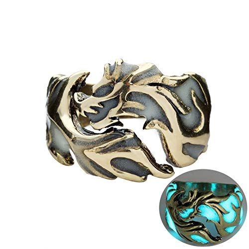 angel3292 Clearance Deals!!Luminous Men Dragon Ring Vintage Jewelry Party Club Banquet Cocktail Pub Band -
