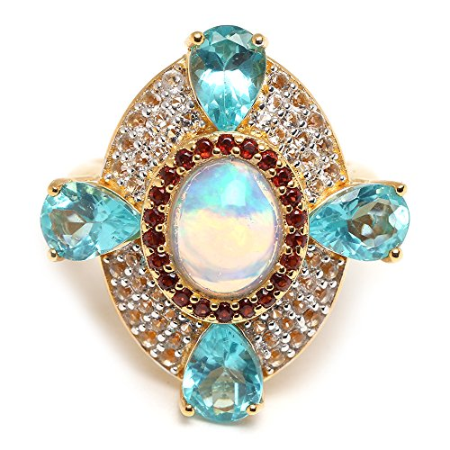 (Women's 925 Sterling Silver Ethiopian Opal, Apatite, Garnet & Zircon Gemstone Ring in 14K Yellow Vermeil Gold Plate. (9) )