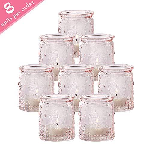 Kate Aspen Tea Light Holder, 8 Pcs Vintage Glass Tealight Candle Holders, Perfect Wedding Favor, Bachelorette Favor or Bridal Shower Favor - Pink