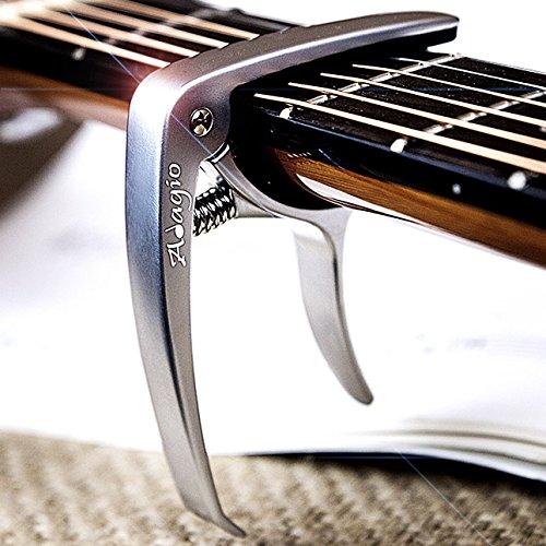 Adagio - Capo Pro Deluxe pour guitares acoustiques et é lectriques avec libé ration rapide et extracteur de pince en argent