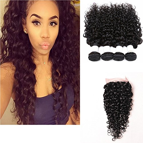 "Perstar Hair 8A Grade Brazilian Water Wave 4 Bundles with Closure Unprocessed Virgin hair with 4""4"" lace closure free part(22 22 24 24+18)"