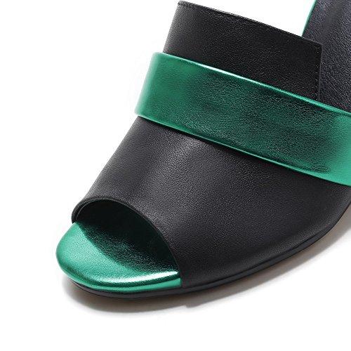 Weenfashion Womens Pull On Open Toe Tacchi Alti Pantofole Di Colore Nero