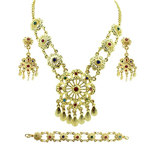 Siwalai Thai Traditional Gold Plated Multicolor Crystals Necklace Earrings Bracelet Jewelry Set 18 (101 Gorgeous Earrings)