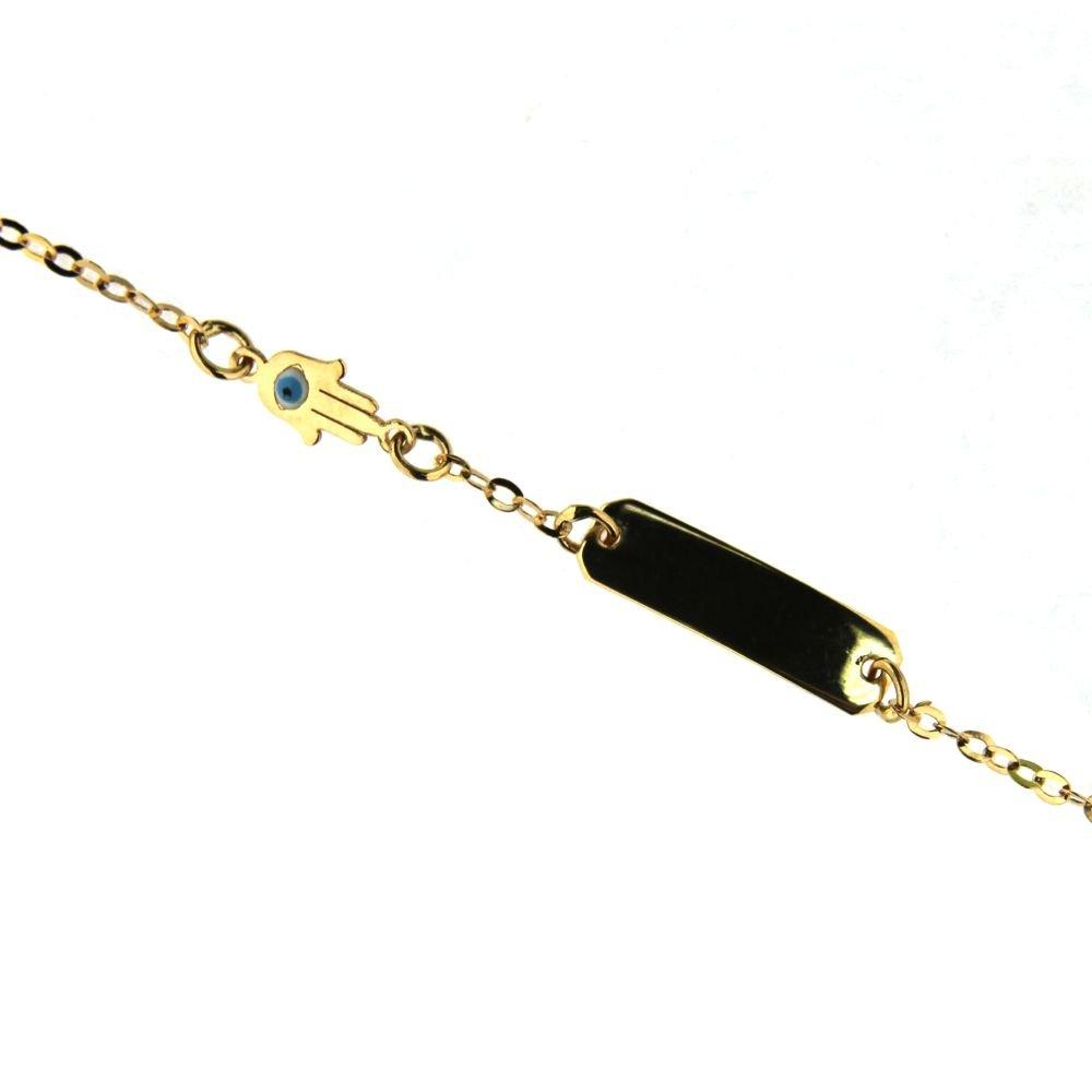18K Yellow Gold Enamel Eye Hamsa Id bracelet in line 5.5 inch. Fatima Hand