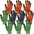 3M Super Grip 200 Gardening Gloves Work Gloves -10 Pairs, Assorted Colors
