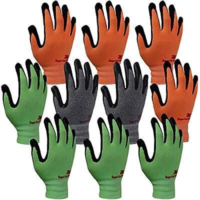 3M Super Grip 200 Gardening Gloves Work Gloves -10 Pairs, Assorted Colors