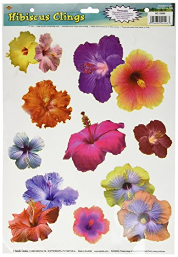 Hibiscus Clings Party Accessory (1 count) (9/Sh)]()