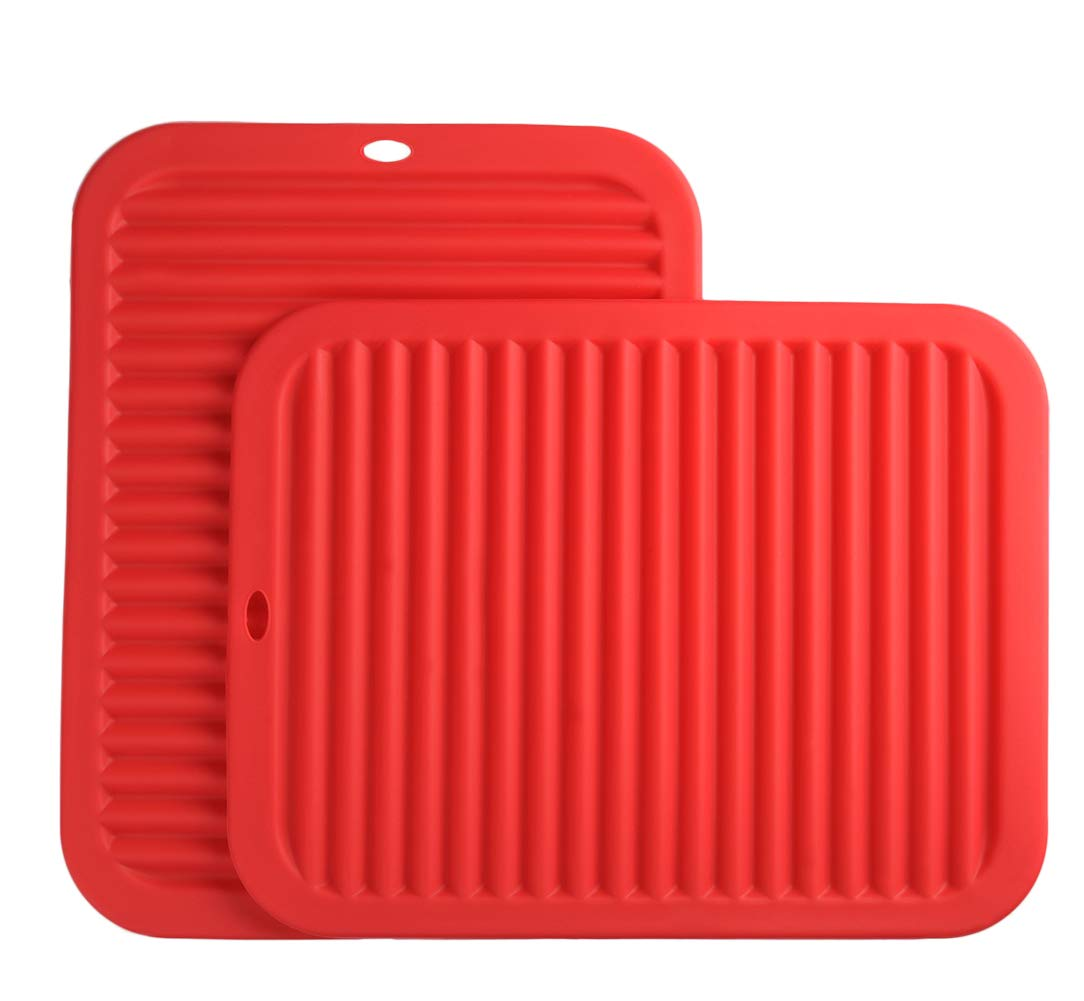 "Smithcraft Silicone Trivets mat set 9""X12"" Big Size Multi-purpose Drying Trivet Mat, Pot Holder, Waterproof, (Set of 2) Non Slip, Flexible, Durable, Dishwasher Safe Red"
