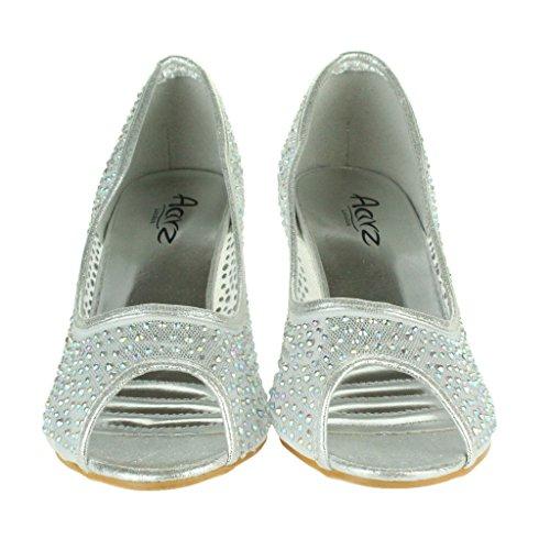 Mujer Señoras Malla diamante Peep Toe Noche Boda Nupcial Fiesta Paseo Tacones medianos Zapatillas Sandalias Zapatos Talla Plata