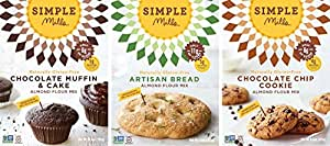 Simple Mills Naturally Gluten-Free Almond Flour Mix, Artisan Bread, Chocolate Chip Cookie and Chocolate Muffin, 3 Count
