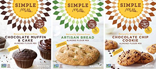 Simple Mills Almond Flour Mix Variety Pack:, (1) Artisan Bread, (1) Chocolate Chip Cookie, (1) Chocolate Muffin & Cake, 3 count
