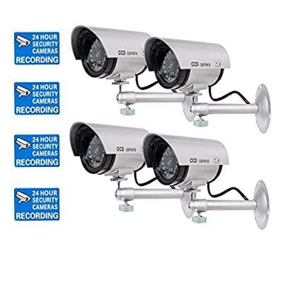 WALI Bullet Dummy Fake Surveillance Security CCTV Dome Camera Indoor Outdoor with one LED Light + Warning Security Alert Sticker Decals WL-TC-S4, 4 Pack by WALI