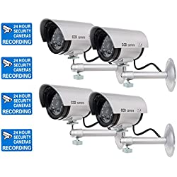 WALI Bullet Dummy Fake Surveillance Security CCTV Dome Camera Indoor Outdoor with one LED Light Warning Security Alert Sticker Decals (TC-S4), 4 Packs, Silver