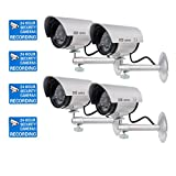 Outdoor Security Camera WALI Bullet Dummy Fake Surveillance Security CCTV Dome Camera Indoor Outdoor with one LED Light + Warning Security Alert Sticker Decals WL-TC-S4, 4 Pack