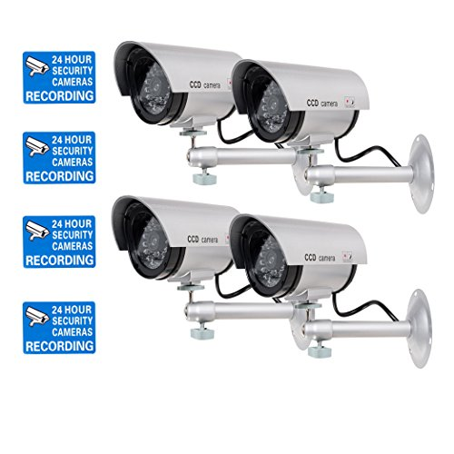 (WALI Bullet Dummy Fake Surveillance Security CCTV Dome Camera Indoor Outdoor with one LED Light Warning Security Alert Sticker Decals (TC-S4), 4 Packs, Silver)