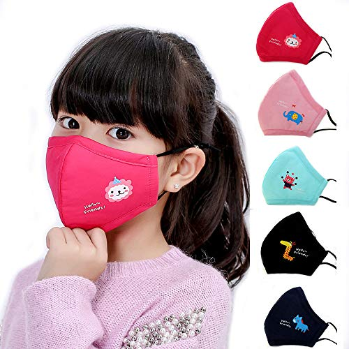 Mask Maroon Face (HYTERUN Kid's Dust Mouth Mask, Cartoon PM2.5 Anti Dust Pollution Mask with Adjustable Straps Cotton Mouth Mask Children's Guaze Mask Dustproof Face Mask with N95 Filters (5 Packs))