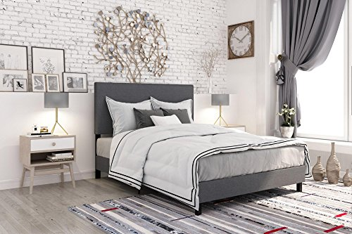 (DHP 4156439 Janford Upholstered Bed with with Chic Design, Queen, Grey Linen)