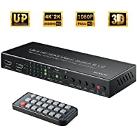 HDMI Matrix Switch, NOVETE 6 x 2 HD 4K HDMI Switcher with PIP, ARC, Audio Extractor Function, 3D, SPDIF or 3.5mm Audio Output Supported