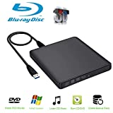 External Blu-Ray Drive,Guamar USB 3.0 Aluminum Blu-Ray Drive CD/DVD Burner/Writer with 3D Blu-ray Disc Playback,Super-Fast Blu-Ray Writing Reading Speed,for Notebook Netbook Desktop,black