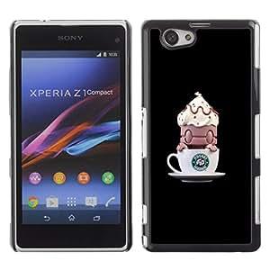 For Sony Xperia Z1 Compact / Z1 Mini / D5503 Case , Coffee Funny Monster Small - Diseño Patrón Teléfono Caso Cubierta Case Bumper Duro Protección Case Cover Funda