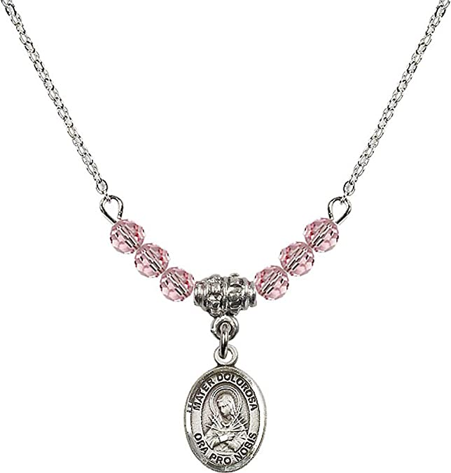 18-Inch Rhodium Plated Necklace with 4mm Rose Birthstone Beads and Sterling Silver Saint Bonaventure Charm.