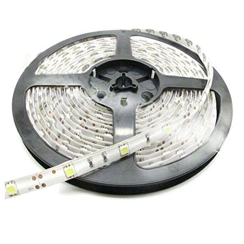 Price comparison product image CMC LED Light Strip Lamp White Waterproof Strip Indoor Outdoor LED Strip Lights 16.4Ft 5M 300leds Flexible Rope Lighting Tape Lights for DC 12V Battery Solar Adapter Transformer Power