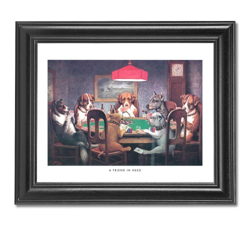 Dogs Playing Poker At Table #1 Wall Picture Framed Art Print ()
