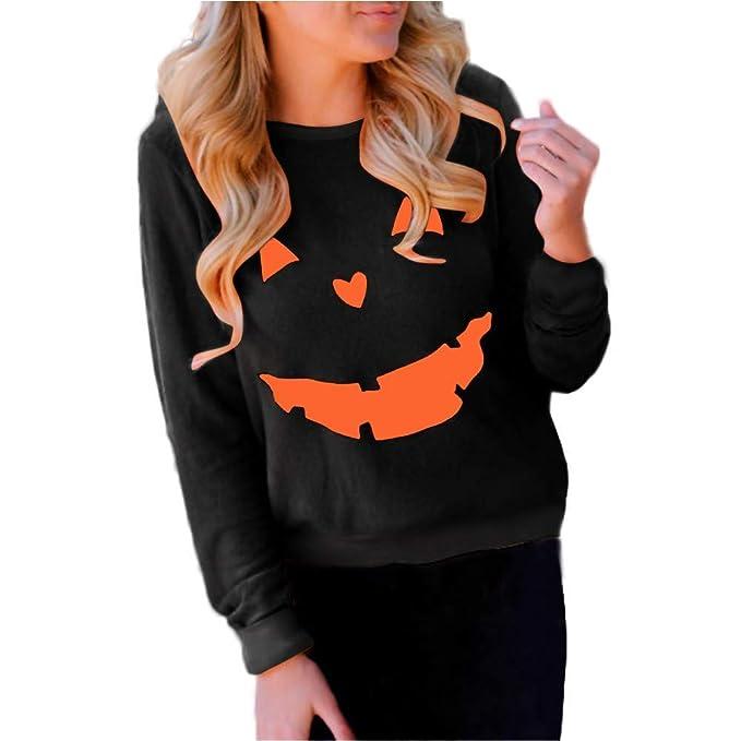 4587e29e Halloween clothing for women,Womens Halloween Pumpkin Print Long Sleeve  Pullover Tops Blouse Shirt Black