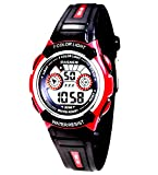 Waterproof Digital Sports LED Electrical Alarm Stopwatch Ages 4-11 Year Old Kids Watches Gift (Pink)