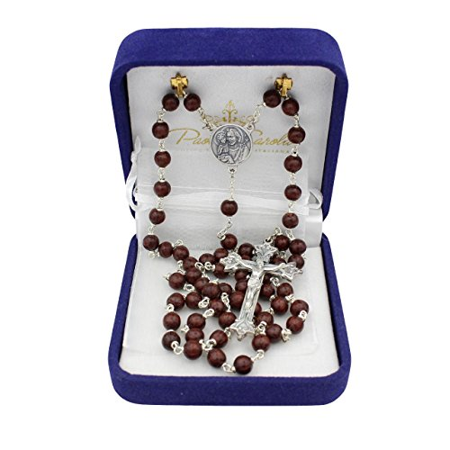- Bundle St Joseph 7mm Maroon Coco Bead Rosary Brown with Organza Storage Bag