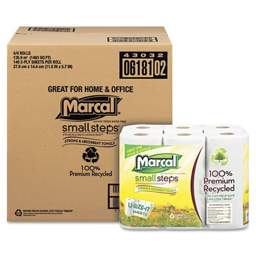 Small Steps 100% Premium Recycled Giant 2-Ply Paper Towels - 140 Sheets per Roll / 24 Rolls: Paper Towels: Amazon.com: Industrial & Scientific