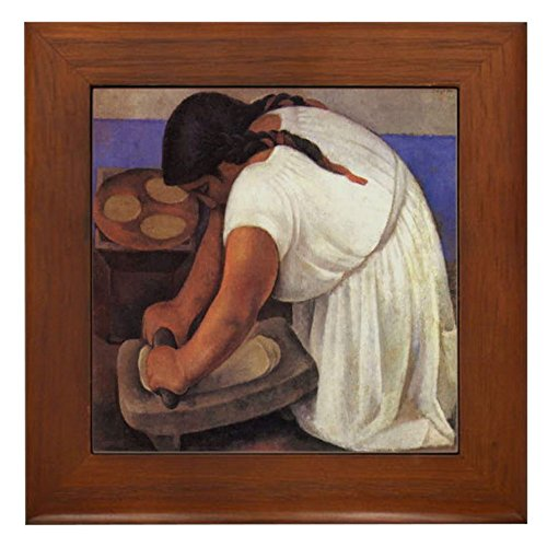CafePress - Diego Rivera - Molendera Art Tile Framed Tile - Framed Tile, Decorative Tile Wall Hanging