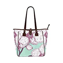 Vintage Style Flower Waterproof fabric Two-sided Printing Classic Carry On Lightweight Tote Bag