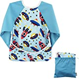 TinyToes Long Sleeve Waterproof Soft Washable Baby/Toddler Bib with Free Travel Bag