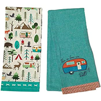 Design Imports DII Happy Camper How We Roll Dish Towels - Set of 2 - Camper Embellished - Campsite Printed