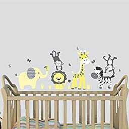 Mini Yellow Gray, Jungle Animal Wall Decals, Jungle Stickers for Baby Rooms