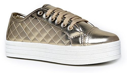 Quilted Lace Up Platform Sneaker - Round Toe Comfortable Flat Sporty leather Casual Walking Shoe